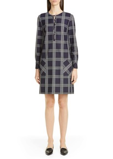 Lela Rose Plaid Button Front Long Sleeve Shift Dress