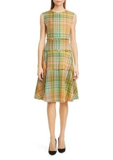 Lela Rose Plaid Fringe Trim Fit & Flare Dress