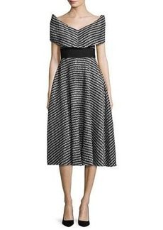 Lela Rose Pleated Gingham V-Neck Dress