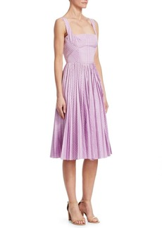 Lela Rose Pleated Plaid A-Line Dress