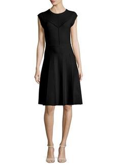 Lela Rose Pointelle Knit Cap-Sleeve Dress