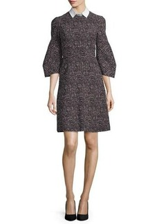 Lela Rose Printed Detachable-Collar A-Line Dress