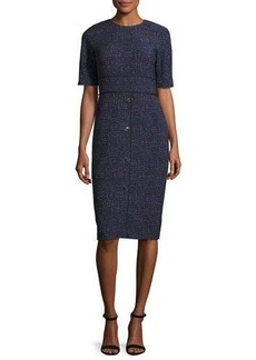 Lela Rose Printed Half-Sleeve Sheath Dress