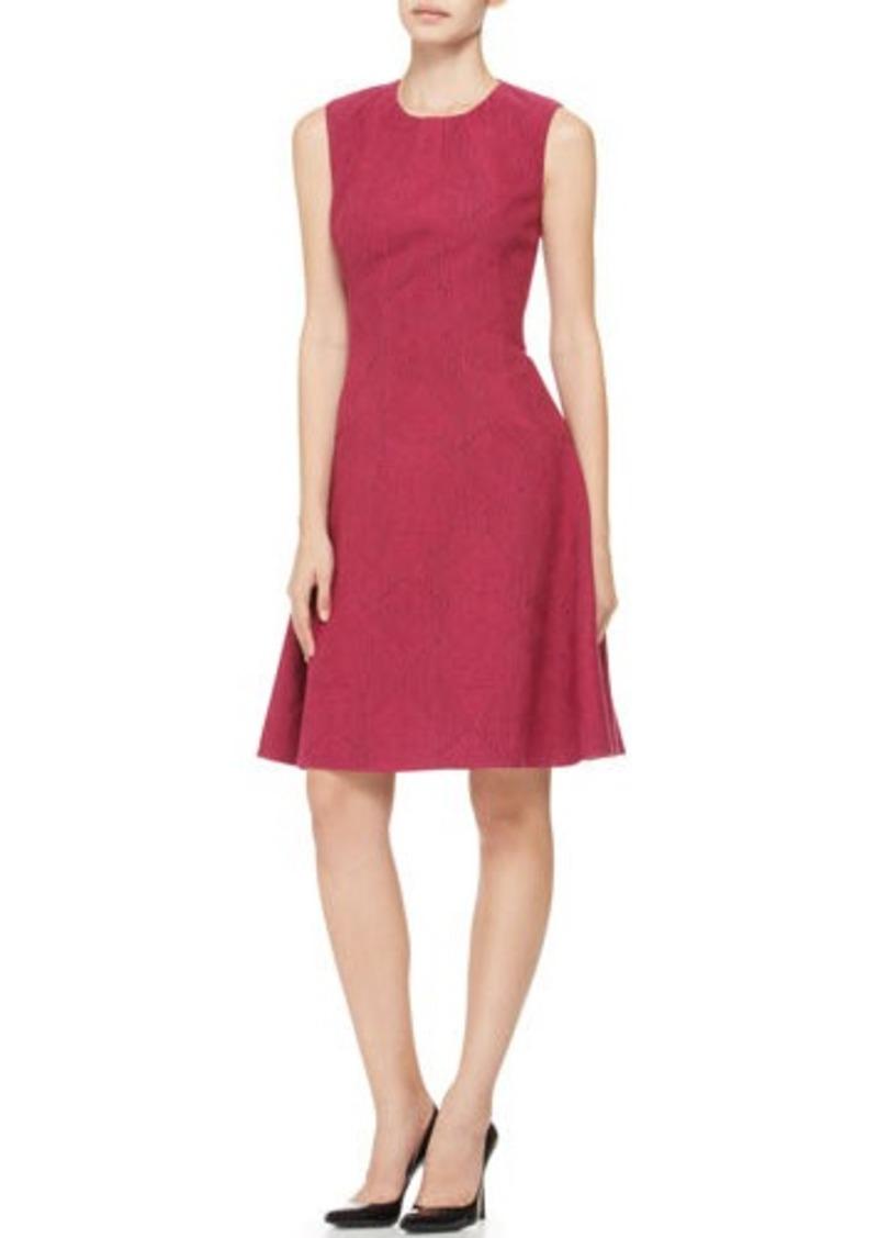 Lela Rose Printed Seamed Drop-Waist Dress