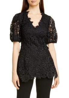 Lela Rose Puff Sleeve Lace Blouse