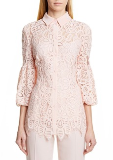 Lela Rose Puff Sleeve Lace Shirt