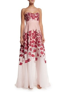 Lela Rose Raised-Floral Strapless Gown