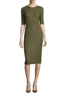Lela Rose Reversible Cashmere Half-Sleeve Dress
