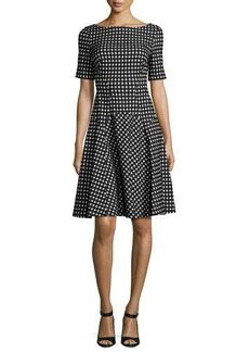 Lela Rose Reversible Gingham Jacquard Boat-Neck Dress