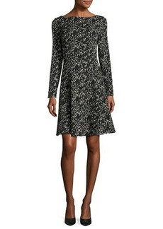 Lela Rose Reversible Jacquard Long-Sleeve Dress