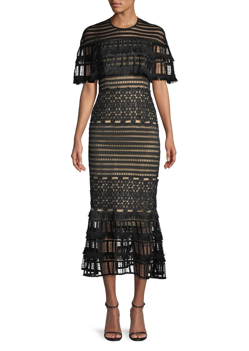 Lela Rose Round-Neck Grid-Guipure Lace Fringed Midi Dress