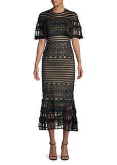 Lela Rose Round-Neck Grid-Guipure Lace Fringed Midi Dress