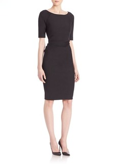 Lela Rose Ruched Stretch Twill Dress