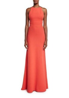 Lela Rose Ruffled-Back Sleeveless Mermaid Gown