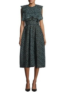 Lela Rose Ruffled Dotted Organza Midi Dress