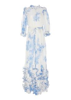 Lela Rose Ruffled Floral Cotton Voile Dress
