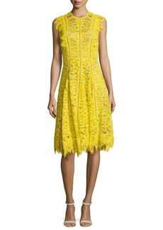 Lela Rose Ruffled-Trim Lace Dress