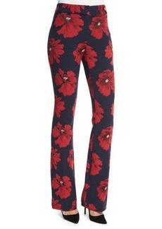 Lela Rose Sam Flare-Leg Floral-Print Pants