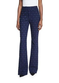 Lela Rose Sam Geometric-Jacquard Flared Pants