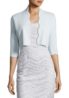 Lela Rose Scalloped 3/4-Sleeve Bolero
