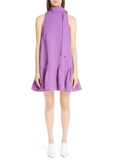 Lela Rose Scarf Neck Wool Blend Crepe Drop Waist Dress