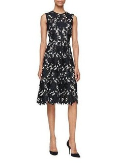 Lela Rose Seamed Floral Lace Dress
