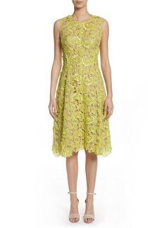 Lela Rose Seamed Floral Lace Dress