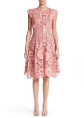 Lela Rose Seamed Lace Fit & Flare Dress