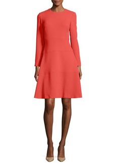 Lela Rose Seamed Long-Sleeve A-Line Dress