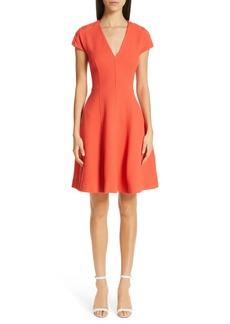 Lela Rose Seamed Wool Blend Crepe Dress