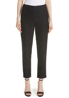 Lela Rose Sequin Embroidered Tweed High Waist Pants
