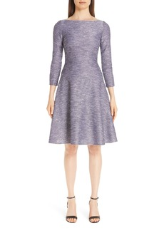 Lela Rose Sequin Tweed Fit & Flare Dress