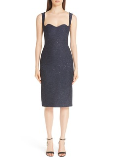 Lela Rose Sequin Tweed Sheath Dress