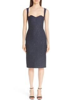 Lela Rose Sequin Tweed Sheath Dress