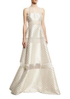 Lela Rose Sheer Striped Fringe Sleeveless Gown
