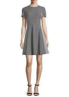 Lela Rose Short-Sleeve Geometric-Print Dress