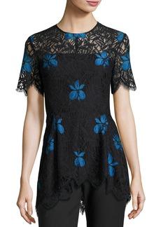 Lela Rose Short-Sleeve Lace High-Low Top