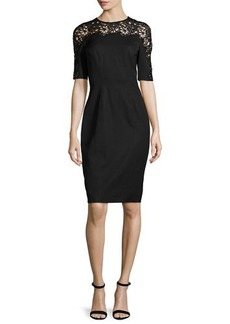 Lela Rose Short-Sleeve Lace-Inset Sheath Dress