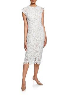 Lela Rose Short-Sleeve Lace Sheath Dress