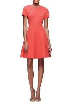 Lela Rose Short-Sleeve Matelasse Fit-&-Flare Dress