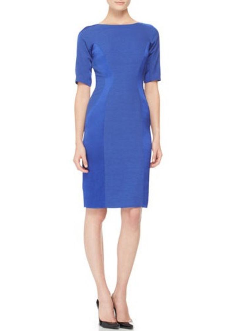Lela Rose Short-Sleeve Paneled Dress