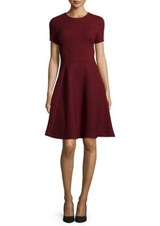 Lela Rose Short-Sleeve Seamed Picot-Knit Dress
