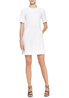 Lela Rose Short-Sleeve Seamed Tunic Dress