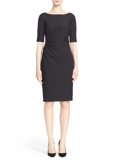 Lela Rose Side Ruched Stretch Twill Dress