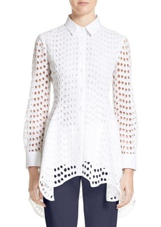 Lela Rose Silk & Cotton Eyelet Peplum Shirt