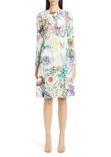 Lela Rose Sketch Floral Long Sleeve Tiered Dress