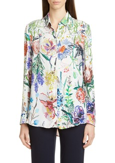 Lela Rose Sketch Floral Print Blouse