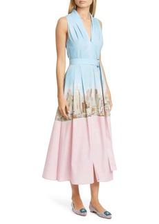 Lela Rose New York City Print Belted Poplin Midi Dress