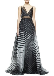 Lela Rose Sleeveless Asymmetric-Neck Printed Gown