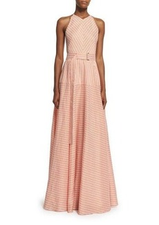 Lela Rose Sleeveless Belted A-Line Gown